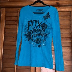 NWOT Fox Riders Company Womens LS Teal Shirt
